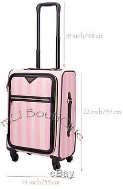 1 Victorias Secret Signature Pink Stripe Carry On Luggage + Free Vs Hand Spray