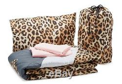 5pC Victoria's Secret Pink Leopard REVERSIBLE Bed in bag Comforter Sheet TWIN XL