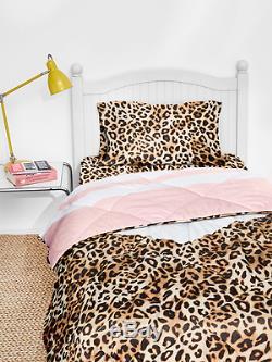 5pC Victoria's Secret Pink Leopard REVERSIBLE Bed in bag Comforter Sheet TWIN XL