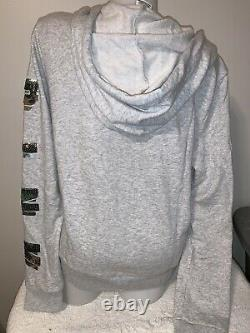 HTF Victoria Secret Pink Camo Sequins Bling Full Zip Hoodie Joggers Outfit Set L
