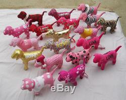 Lot of 19 Victorias Secret pink dogs plush stuffed metalic look velvety & more