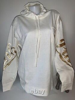 NEW Victoria Secret PINK Bling Beige Hoodie Gold Sequins Tunic Sweatshirt L