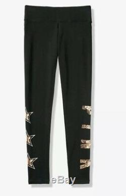NEW Victoria Secret PINK LEGGINGS ROSE GOLD BLING STARS Campus Tee Set L XL