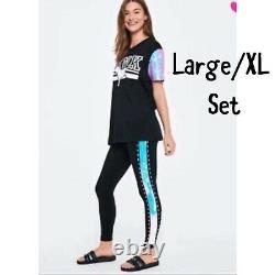 NEW Victoria secret pink Sequin SET Bling Flip Campus T-Shirt Leggings L/XL Set