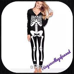 NEW Victorias Secret VS PINK Skeleton Halloween Pajama One Piece Long Jane Large