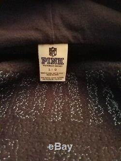 NWOT Victoria Secrets-PINK Sequins/Bling Hoodie / Zip Front -Gorgeous Blue LARGE