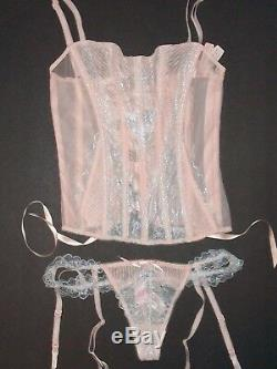 NWT $122 Victoria Secret Sexy Shimmer Lace Bustier S Corset Lace Up