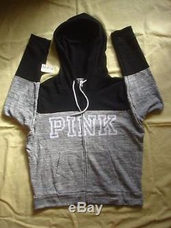 NWT New Victoria's Secret Pink Varsity Hoodie Sweat shirt Boyfriend Set Marble L