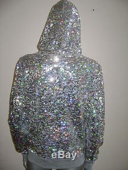 NWT VICTORIA'S SECRET PINK ZIP HOODIE FASHION SHOW 2013 size MEDIUM GRAY SEQUIN