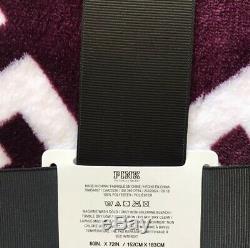 NWT Victoria Secret PINK Sherpa Blanket Burgundy Black Orchid Logo