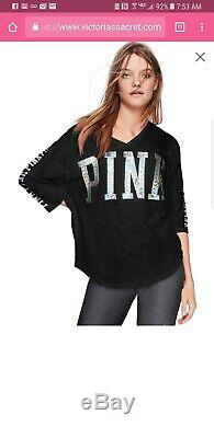 NWT Victoria Secret PINK large Mega Bling 3/4 Tee & Ultimate Color Block Legging