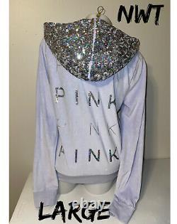 NWT Victoria Secret Pink Mega Bling Iridescent Sequin Velour Jacket Hoodie L