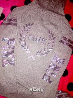 NWT Victoria's Secret PINK Wear Everywhere Full Zip Hoodie MARLED GREY BLING S