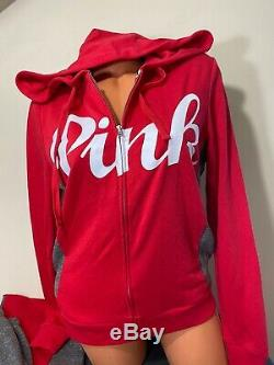 NWT Victorias Secret PINK Full Zip Hoodie & Boyfriend Pant Set Medium NWT