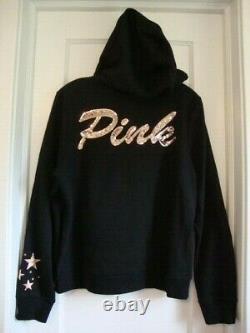 NWT Victorias Secret Pink Graphic Bling Hoodie Full Zip Black Large