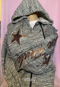 NWT Victorias Secret Pink Hoodie & Pants Set Medium Sequence Bling Sweatshirt