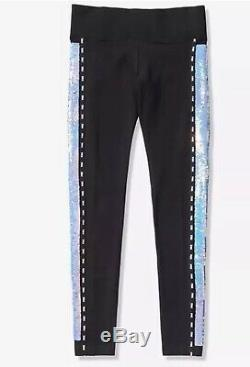 New VICTORIAS SECRET PINK Iridescent Bling SS Shirt & Leggings Large Sequin Set