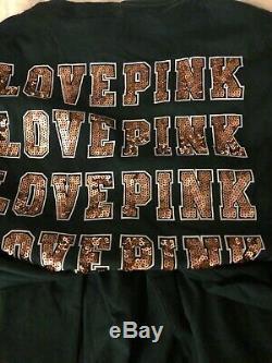 New V. S. Victoria Secret Pink Dark Ivy Green Gold Bling Tee / Joggers SET