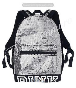 New Victoria's Secret Campus PINK Bling Sequins Silver Backpack Gray Black NWT