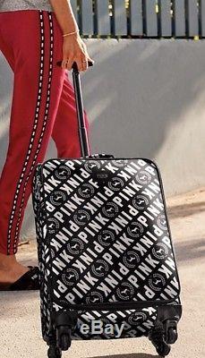 New Victoria's Secret PINK Wheelie Carry On Suitcase Luggage Black White Travel