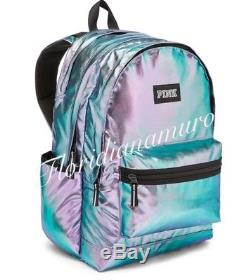 New Victoria's Secret Pink Campus Backpack Metallic Iridescent Foil Bag NWT