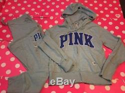 New Victoria's Secret Pink Hoodie & Gym Pants Green Set Large Outfit 2pc Cotton