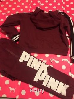 New Victoria's Secret Pink Hoodie & Gym Pants Set Sweats Small Outfit 2pc Cotton