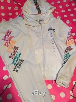 New Victoria's Secret Pink Hoodie & Gym Pants White Set Large Limited Outfit 2pc