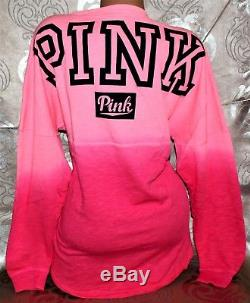 Nwot Victoria's Secret Pink Ombre Boyfriend Varsity Crew Logo Sweatshirt L XL