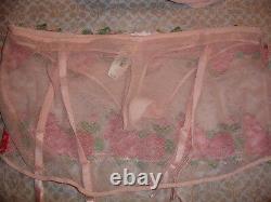Nwt Victoria Secret Fabulous Plunge Set Skirt Thong M Bra 36dd Peach Pink Roses
