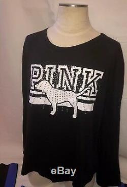 Nwt Victoria Secret PINK L Xl Set Bling Tee Shirt Ulitimate Bonded Legging Large