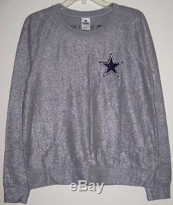 Nwt Victoria's Secret Pink Dallas Cowboys Shimmer Silver Gray Crew Sweatshirt