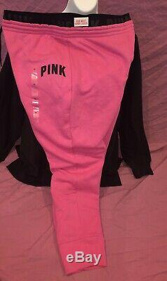 PINK Victorias Secret Loose Fit Pullover Bright SWEATSHIRT Pant Jogger Set XL
