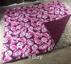 RARE PINK VS Victorias Secret REVERSIBLE Comforter Berry Burgundy Floral