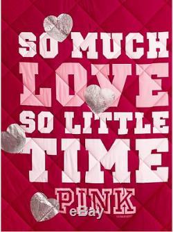RARE VICTORIAS SECRET PINK REVERSIBLE COMFORTER Heart Leopard Valentine Bling