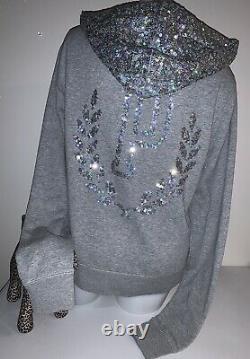 RARE Vintage Victoria Secret PINK Bling Sequin Fashion Show Hoodie Jacket L