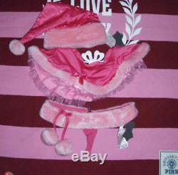 Rare 3pc VICTORIAS SECRET SEXY SANTA PINK BLING FUR HAT SKIRT THONG Christmas