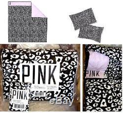 TWIN XL Victoria's Secret Pink LEOPARD COMFORTER black pink + PILLOW CASES 3pcs