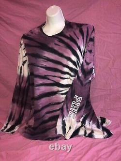 VICTORIAS SECRET PINK CAMPUS TEE Leggings Set Zebra Purple TIE DYE Large XL New