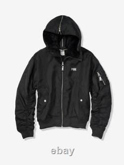 VICTORIAS SECRET PINK Faux Fur Hood Full-Zip Flight Bomber Jacket Hoodie Black M