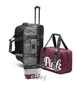 Victorias Secret Pink Luggage 3 Pc Wheelie Travel Set Duffle Bag Black Orchid