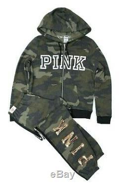VICTORIAS SECRET PINK Logo Full Zip Hoodie With Sweatpants Set Green Camo