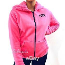VICTORIAS SECRET PINK Reversible Sherpa Hoodie Lined Jacket Full Zip Neon