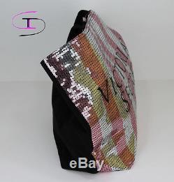 Victoria Secret New Large Tote Bag Silver Pink Sequin Black Friday 2015 Vs 1139k