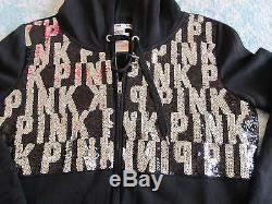 VICTORIA SECRET PINK Bling black logo Zipper Hoodie Fashion Show Sequin RARE L