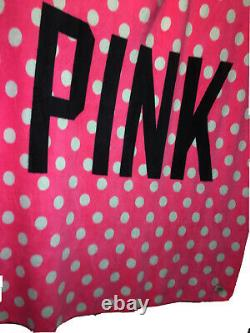 VICTORIA SECRET PINK FLEECE BLANKET THROW BLACK/PINK SCRIPT Polkadot
