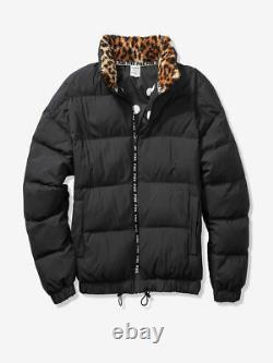VICTORIA SECRET VS PINK Sherpa Leopard Collar Black Puffer Jacket SMALL