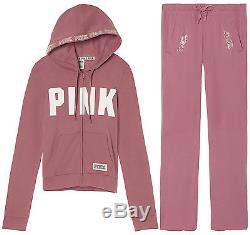 Victoria's Secret Pink Hoodie And Pants Set Sweats Patch Metallic Logos