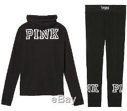 Victoria's Secret Pink Quarter Zip Hoodie And Sweat Pants Set Gym Half