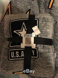 VS PINK US ARMY SHERPA BLANKET RARE NWT Victorias Secret collegiate collection